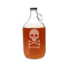 Personalized Skull + Crossbones 64 Oz. Craft Beer Growler