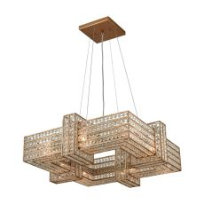 Lexicon 8 Light Chandelier In Matte Gold With Clear Crystal