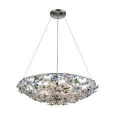 Crystallus 8 Light Chandelier In Polished Chrome With Multi-Colored Crystal