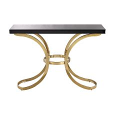 Beacon Towers Console Table In Gold Plate And Black Glass