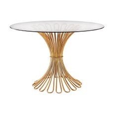 Flaired Rope Entry Table In Gold Leaf And Clear Glass