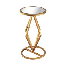 Vanguard Side Table In Gold Leaf And Clear Mirror