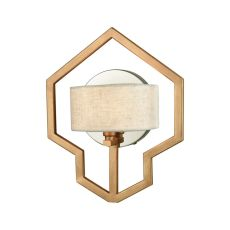 Warrenton 1 Light Wall Sconce In Matte Gold With Polished Nickel Accents And Beige Linen Shade Included