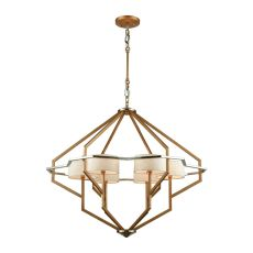 Warrenton 6 Light Chandelier In Matte Gold With Polished Nickel Accents And Beige Linen Shades Included