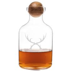 56 Oz. Glass Antlers Decanter With Wood Stopper