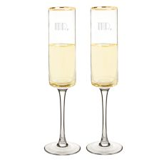 Mr. & Mr. 8 Oz. Gatsby Gold Rim Contemporary Champagne Flutes