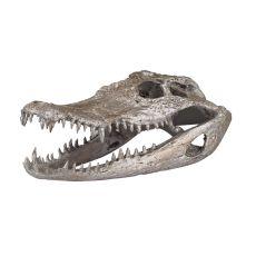 Decorative Crocodile Skull In Silver Leaf