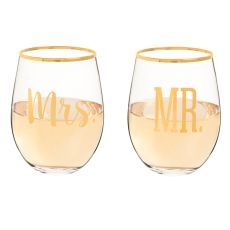 Mr. & Mrs. 19.25 Oz. Gold Rim Stemless Wine Glasses