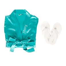 Personalized Aqua Satin Robe With Flip Flop Set