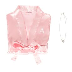 Personalized Aqua Satin Robe And Necklace Set