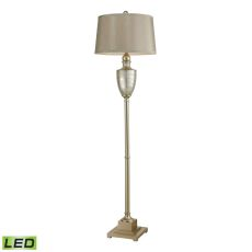 Elmira Antique Mercury Glass Led Floor Lamp With Silver Accents