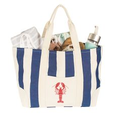 Lobster Navy Striped Canvas Tote Bag