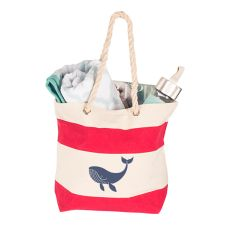 Whale Red Striped Canvas Tote With Rope Handles