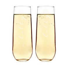Hubby & Hubby Stemless Champagne Flutes