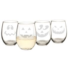 Jack-O-Lantern Stemless Wine Glasses