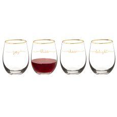 Bliss 19.25 Oz. Gold Rim Stemless Wine Glasses