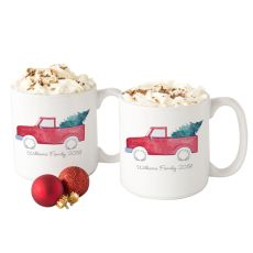 Personalized Christmas Tree Truck 20 Oz. Large Coffee Mugs