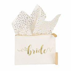 Gold Foil Bride Canvas Clutch