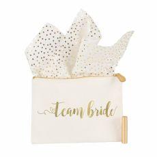 Gold Foil Team Bride Canvas Clutch