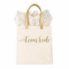 Gold Foil Team Bride Canvas Tote