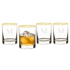 Personalized 11 Oz. Gold Rim Whiskey Glasses