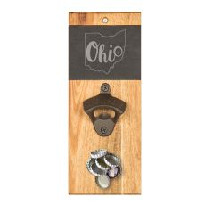 My State Slate & Acacia Wall Mount Bottle Opener With Magnetic Cap Catcher