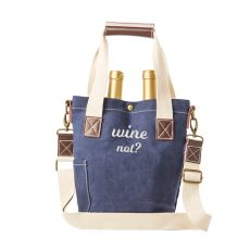"""""""Wine Not"""" Navy Waxed Canvas Wine Tote"""