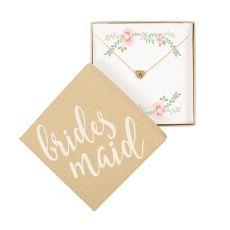 Bridesmaid Heart Slide Pendant Necklace, Silver