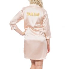 Personalized Glitter Script Gold Satin Night Shirt, (Small-Medium)