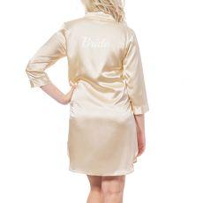 Bride Silver Satin Night Shirt, (Small-Medium)