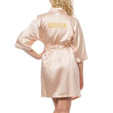 Personalized Glitter Script Blush Satin Robe, (Small-Medium)