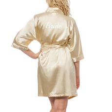 Bride Silver Satin Robe, (Large-Extra Large)