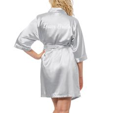 Team Bride Gold Satin Robe, (Small-Medium)