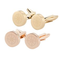 Compass Round Gold Cuff Links