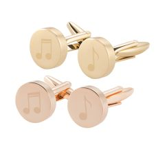 Music Notes Round Gold Cuff Links