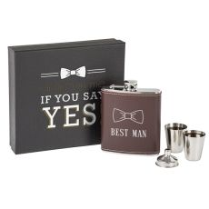 Best Man Leather Wrapped Flask Set, Black