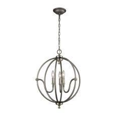 Stanton 3 Light Chandelier In Weathered Zinc With Brushed Nickel Highlights