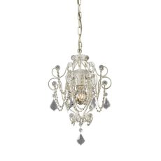 Elise 1 Light Chandelier In Antique White And Clear Crystal
