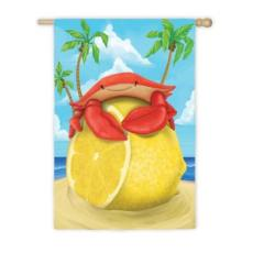 Lemon Crab Garden Flag