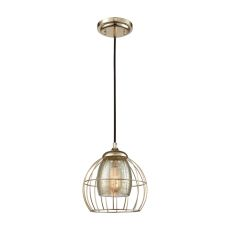 Yardley 1 Light Pendant In Polished Gold With Mercury Glass - Includes Recessed Lighting Kit
