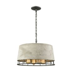 Brocca 4 Light Chandelier In Silverdust Iron With Concrete Shade