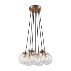 Boudreaux 7 Light Chandelier In Satin Brass With Clear Glass