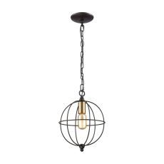 Loftin 1 Light Pendant In Oil Rubbed Bronze With Satin Brass Accents - Includes Recessed Lighting Kit
