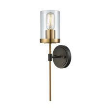 North Haven 1 Light Wall Sconce In Oil Rubbed Bronze With Satin Brass Accents And Clear Glass