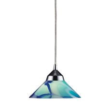 Refraction 1 Light Pendant In Polished Chrome And Caribbean Glass