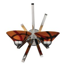 Refraction 2 Light Wall Sconce In Polished Chrome And Jasper Glass