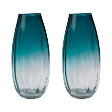 Aqua Ombre Vases - Set Of 2