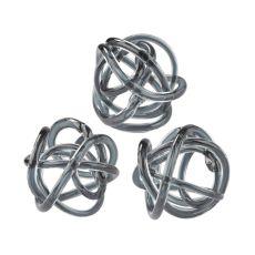 Grey Glass Knots - Set of 3