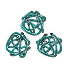 Aqua Glass Knots - Set of 3
