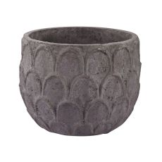 Aged Powdered Lotus Petal-Carved Pot - Small